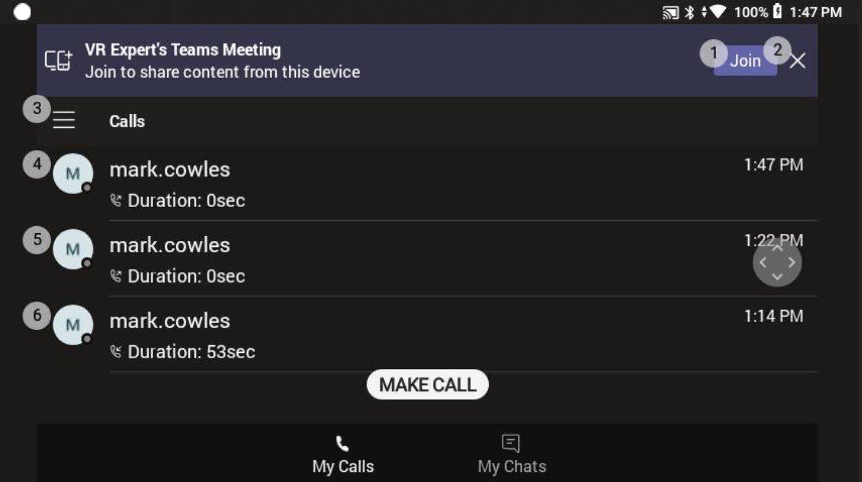 deelnemen aan een Microsoft Teams Meeting op de RealWear